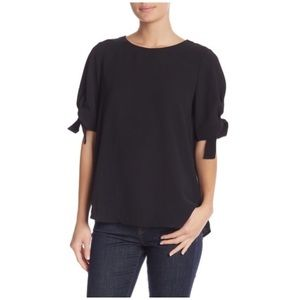 NWT Everleigh Black Tie Sleeve Top Blouse Size LG